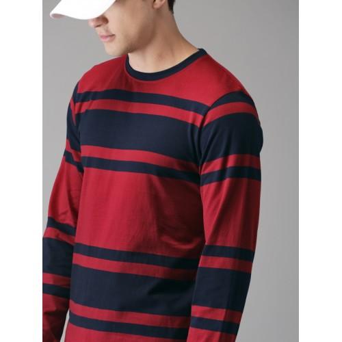 Moda Rapido Men Navy Blue & Maroon Striped Round Neck T-shirt