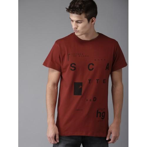 Moda Rapido Men Maroon Printed Round Neck T-shirt