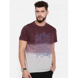 Indian Terrain Men Maroon & Grey Printed Round Neck T-shirt