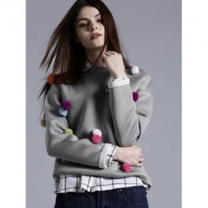 Kook N Keech Grey Melange Cotton Solid Pom-Pom Detail Sweatshirt