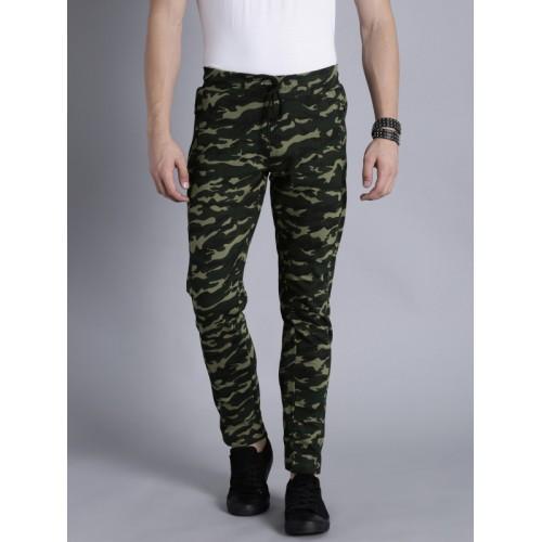 Kook N Keech Olive Green & Black Camouflage Print Track Pants