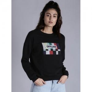 Kook N Keech Women Black Printed Sweatshirt