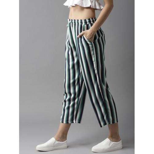 Moda Rapido Women Navy Blue & Green Regular Fit Striped Trousers