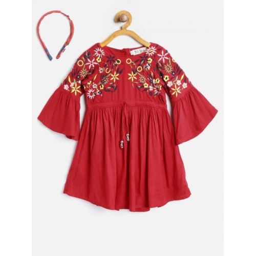 Bella Moda Red Cotton Embroidered Fit and Flare Dress