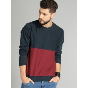Roadster Men Maroon & Navy Blue Cotton Colourblocked Sweatshirt