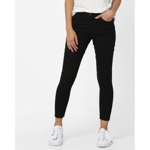 79a10f6b32408 Buy AJIO Ankle-Length Jeggings with Frayed Hems online | Looksgud.in