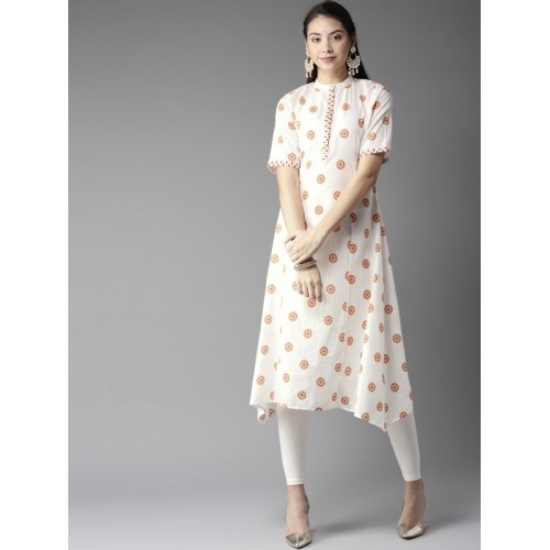 1e14171fd Buy Moda Rapido Women Off-White   Yellow Printed A-Line Kurta online ...