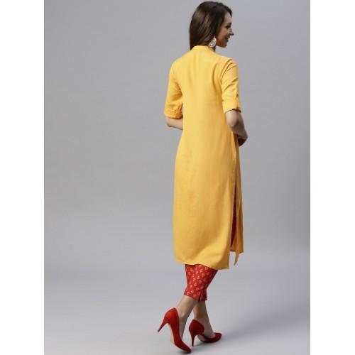 Juniper Women Mustard Yellow Solid Straight Kurta