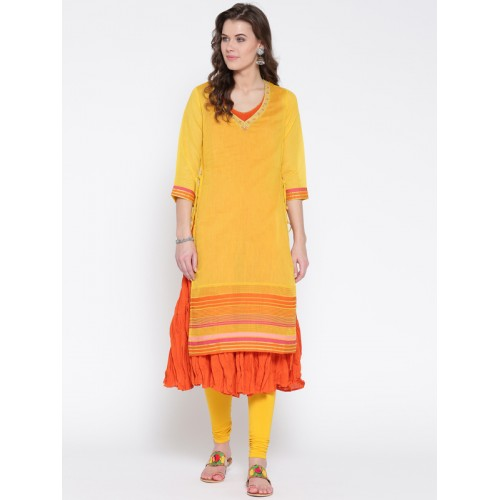 Biba Women Yellow & Orange Solid Layered Anarkali Kurta