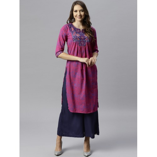 Juniper Women Magenta & Navy Blue Printed Straight Kurta