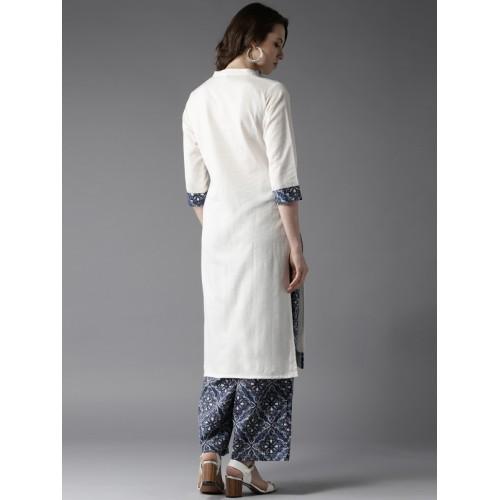 Moda Rapido Women Off-White & Navy Blue Solid Kurta with Palazzos