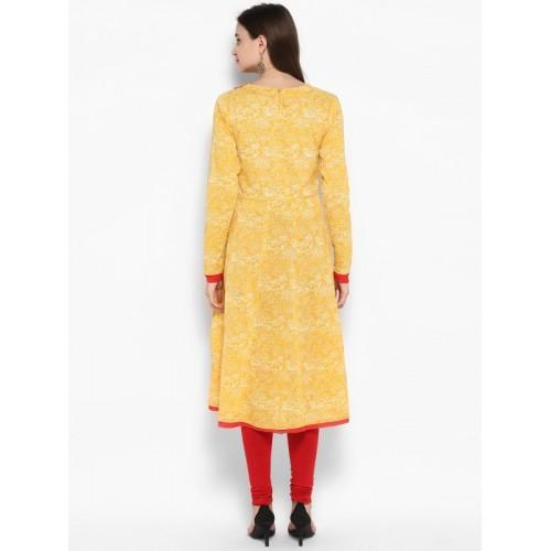 Juniper Women Yellow & Red Embroidered Anarkali Kurta