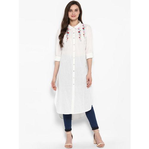 Juniper Women White & Multicoloured Embroidered Straight Kurta