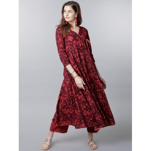 fdd325f8b49 Buy Vishudh Women Maroon   Red Printed Anarkali Kurta online ...