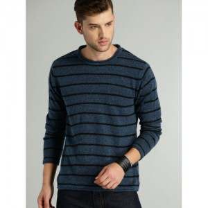 Roadster Men Navy Blue Striped Pullover Sweater