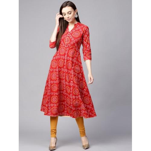 Nayo Women Red & White Bandhani Print A-Line Kurta