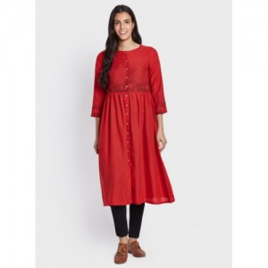 Global Desi Red Printed A-Line Kurta