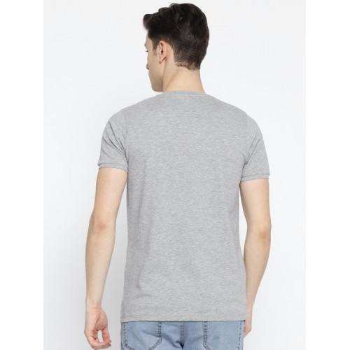 Cloak & Decker by Monte Carlo Men Grey Melange Solid Round Neck T-shirt