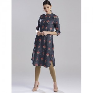 W Women Grey & Coral Pink Printed Straight Kurta