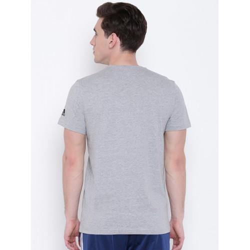 Adidas Men Grey Melange World Cup LOGOTYPE Printed T-shirt
