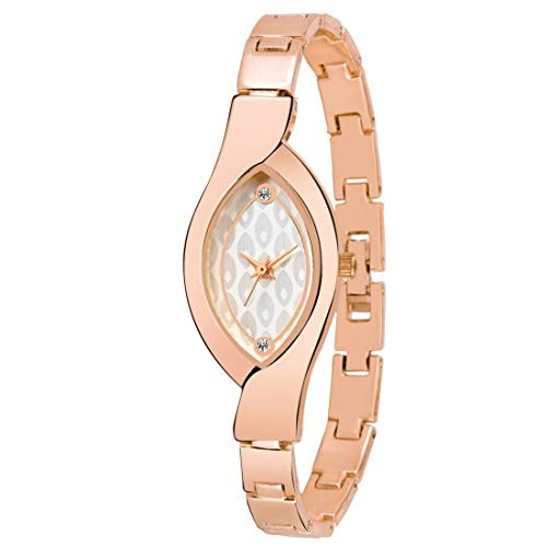 Kairos Analogue Designer White Dial Rose Gold Metal Strap Watch - for Women