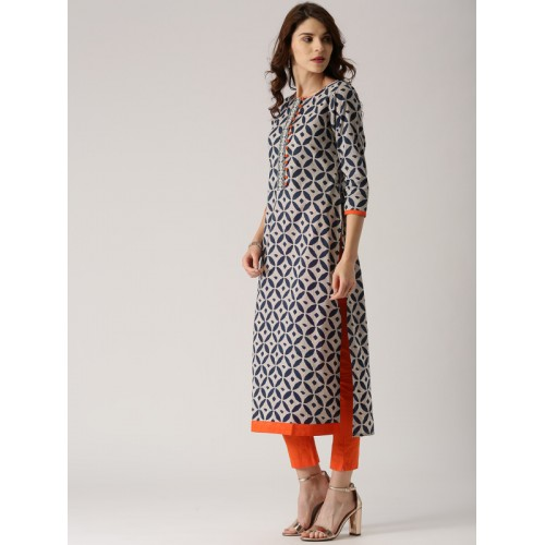 Libas Women's Floral Print Straight Kurta(Grey)
