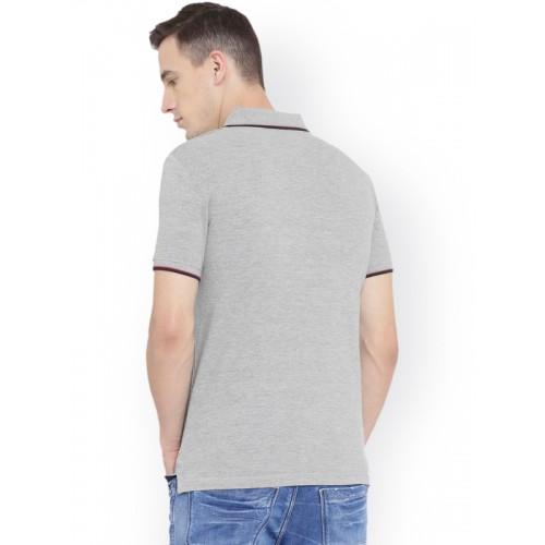 Duke Men Grey Solid Polo Collar T-shirt