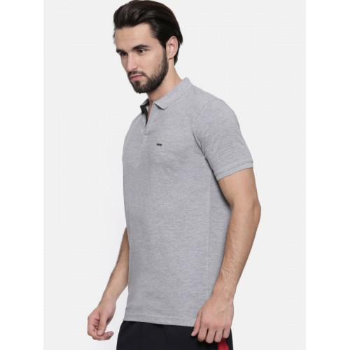Proline Men Grey Solid Polo Collar T-shirt
