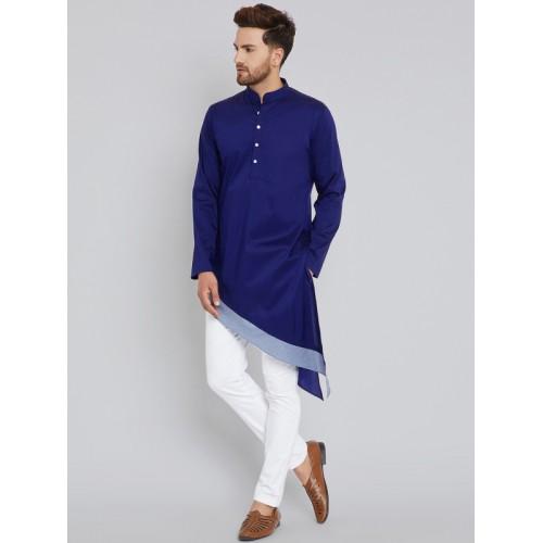See Designs Blue Cotton Colourblocked A-Line Kurta