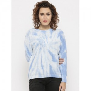 FOREVER 21 Women Blue & White Cotton Printed Sweater