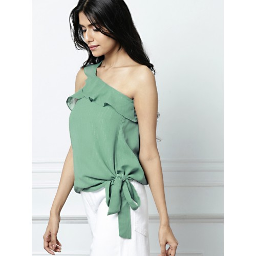 all about you Green Polyester Striped Blouson Top