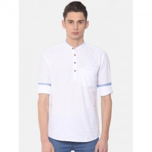 British Club White Cotton Solid Straight Kurta