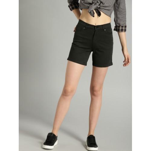 Roadster Black Cotton Solid Regular Fit Regular Shorts