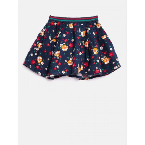 42a23016df ... United Colors of Benetton Girls Navy Blue Floral Print Flared Skirt ...