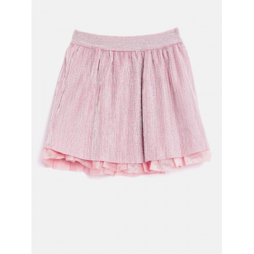 United Colors of Benetton Girls Pink & Silver-Coloured Striped A-line Skirt