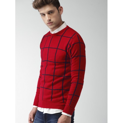 Harvard Men Red & Blue Acrylic Checked Pullover