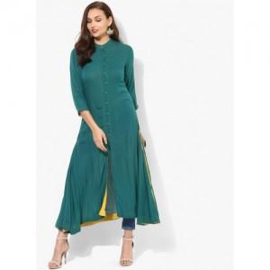 Sangria Green Cotton Solid Band Collar High-Low Anarkali Kurta