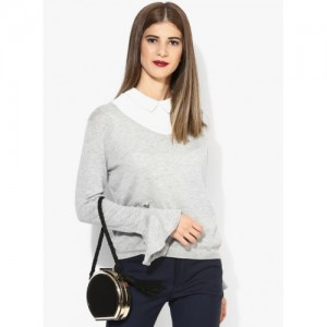MANGO Off White Solid Sweater