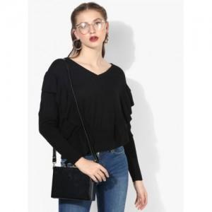 MANGO Black Solid Sweater