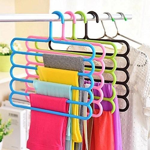 Zollyss 5 Layer Plastic Hangers (Multicolour) - Set of 5