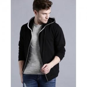 Kook N Keech Men Black Solid Hooded Sweatshirt