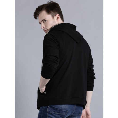 Kook N Keech Men Black Solid Hooded Sweatshirt