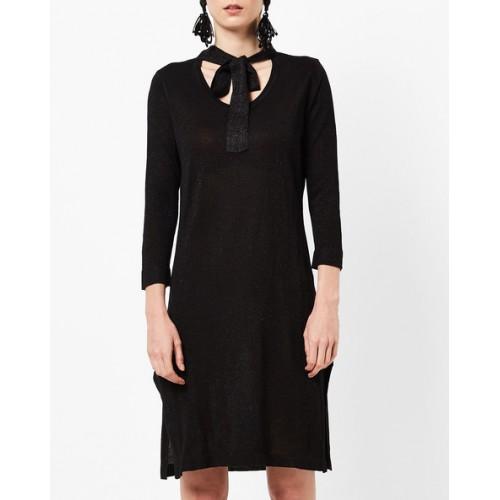 Buy AJIO Shift Sweater Dress with Tie Up Neckline online