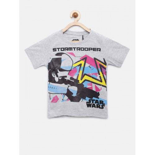 YK Star Wars Boys Grey Melange Printed Round Neck T-shirt