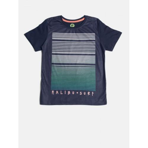 YK Boys Navy Blue Striped Round Neck T-shirt