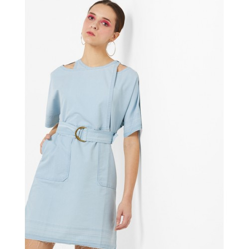 a4798c13 Buy AJIO Denim A-line Dress with Overlapping Front online | Looksgud.in