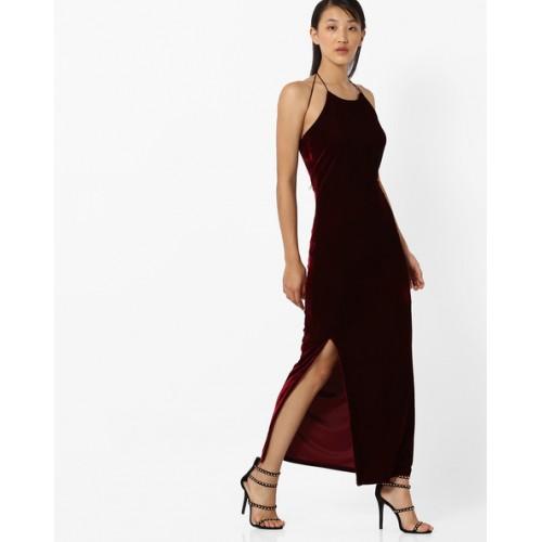 34f10a193550 Buy CODE by lifestyle Halter-Neck Velvet Maxi Dress online ...