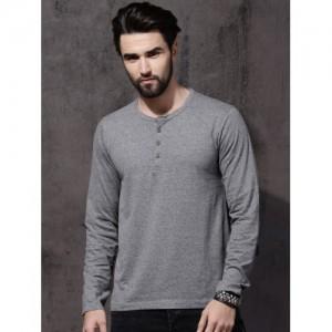 Roadster Men Grey Melange Solid Henley Neck T-shirt