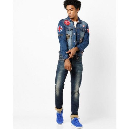 NUMERO UNO Heavy-Wash Low-Rise Slim Fit Jeans