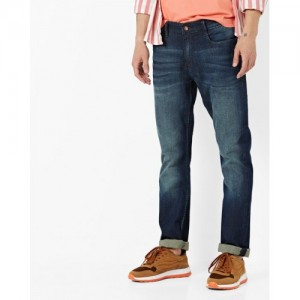 AJIO Mid-Wash Slim Tapered Jeans with Whiskers
